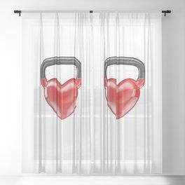 Kettlebell heart vinyl / 3D render of heavy heart shaped kettlebell Sheer Curtain