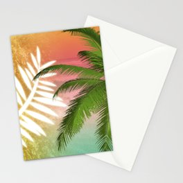 Tropical Palm Tree Palm Fronds & Gold Metallic Stationery Cards