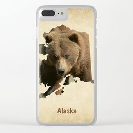 Alaskan Grizzly Map Clear iPhone Case
