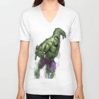 hulk V-neck T-shirts featuring Hulk  by Isaak_Rodriguez