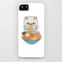 Cats Eating Noodles Out Of A Ramen Bowl T-shirt Design Kitty Kitten Meow Animals Pet Animal Hot iPhone Case