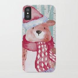 Winter Woodland Friends Cute Bear Snowy Forest Illustration iPhone Case