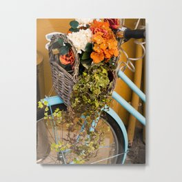 Basket Full of Flowers Metal Print