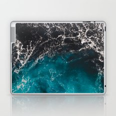 Wavy foamy blue black ombre sea water Laptop & iPad Skin