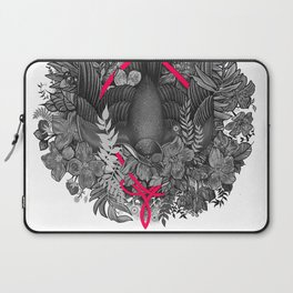 Bird and blossoms | black and grey Laptop Sleeve