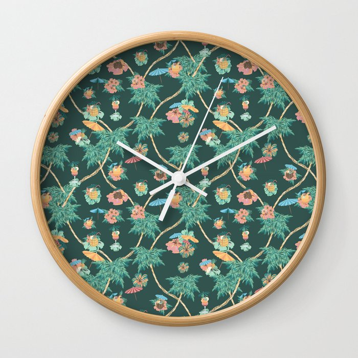 Tropical nights with cocktail pattern Wall Clock