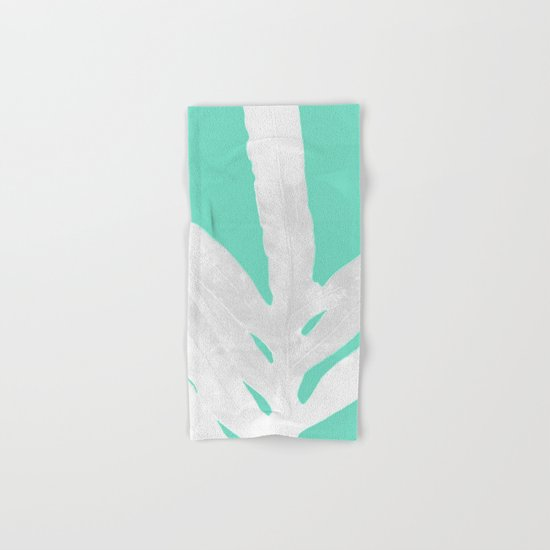 Green Fern on Ice Mint Green Inverted Silver Hand & Bath Towel