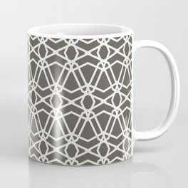 Brown and White Line Geometric Pattern Chains 2021 Color of the Year Urbane Bronze Extra White Coffee Mug
