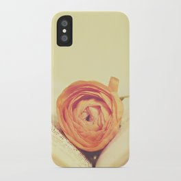 {Old Book and Ranunculus} iPhone Case