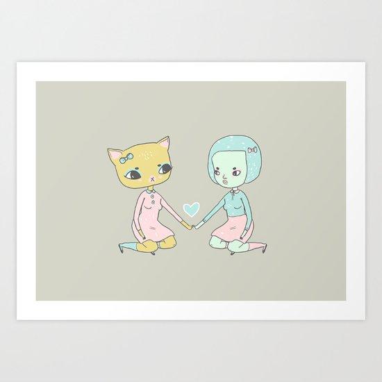 Cat and Girl Art Print