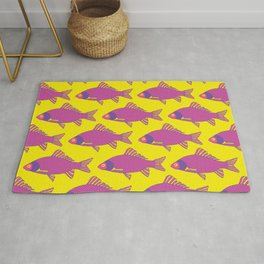 Purple and Pink Tropical Fish Shoal Pattern Rug