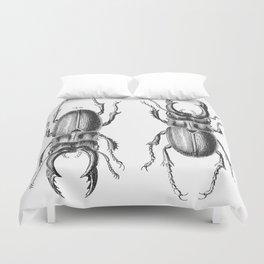 Vintage Beetle black and white Duvet Cover