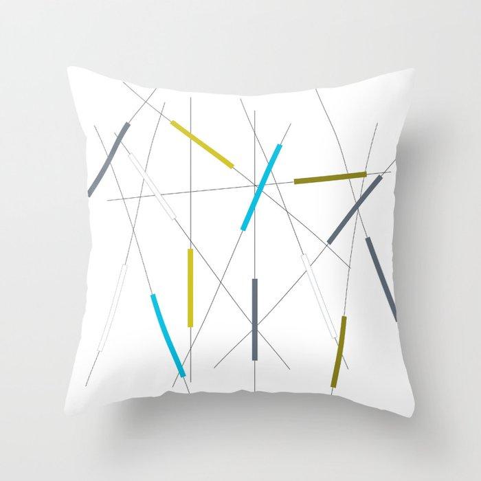 Criss cross blue, green & gray Throw Pillow