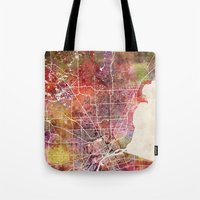 detroit Tote Bags featuring Detroit by MapMapMaps.Watercolors