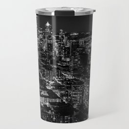 Seattle from the Space Needle in Black and White Travel Mug