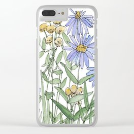 Asters and Wild Flowers Botanical Nature Floral Clear iPhone Case