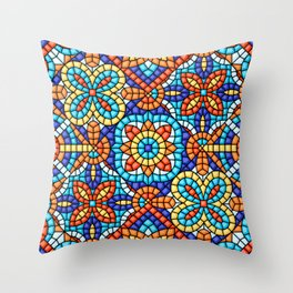 Abstract  Mosaic, ceramic, tile pattern.  Throw Pillow