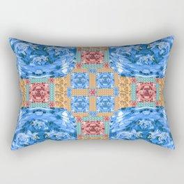 Vibrant Dinosaur Pixel Quilt Rectangular Pillow