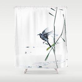 Little Bird (Wagtail - Eurasian Songbird) by The Reeds #decor #society6 #buyart Shower Curtain