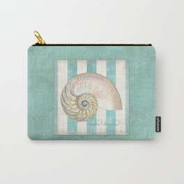 Nautilus Shell Striped Shabby Beach Cottage Watercolor Illustration Carry-All Pouch