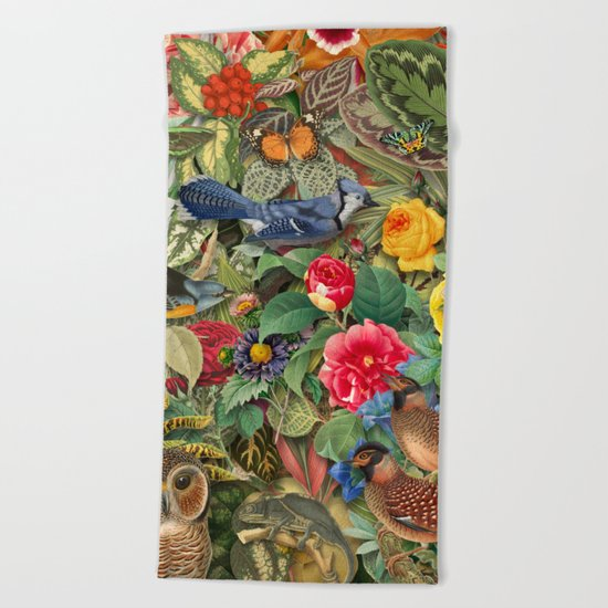 Birds Insects Plants Beach Towel