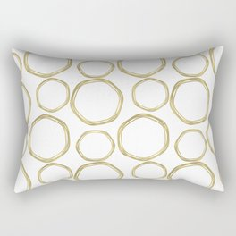 White & Gold Circles Rectangular Pillow
