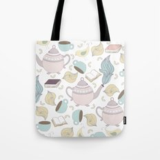 Pastel Tea + Books Pattern Tote Bag