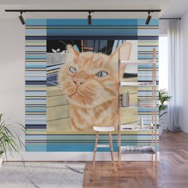 Sniffy Ginger Tabby Cat Wall Mural