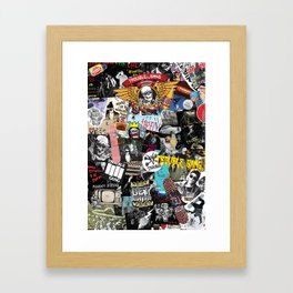 TROUBLE COLLAGE Framed Art Print