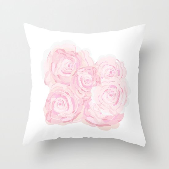 Shabby Chic Roes Throw Pillow by KarenHarveyCox Society6
