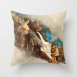 jimi hendrix's electric guitar, guitar wall art, studio decor, music room decor, guitar gift Throw Pillow