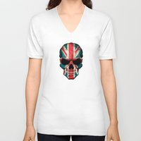 british flag V-neck T-shirts featuring British Flag Skull on Black by Jeff Bartels