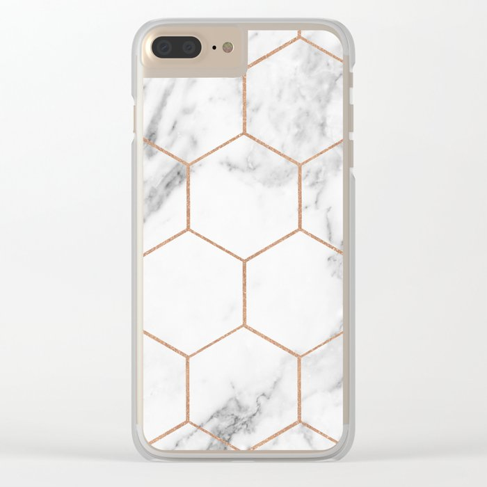 Rose gold marble hexagons honeycomb pattern Clear iPhone Case
