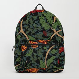 indian floral with art and craft style -gray Backpack