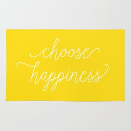 Choose Happiness – Yellow and White Rug
