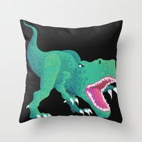 dinosaur Throw Pillows featuring Dinosaur by Kalisch illustrations
