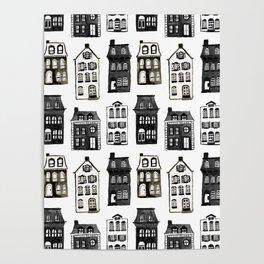Mansard Mansions in Black + White Watercolor Poster