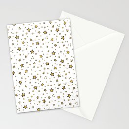 Starry Sky Seamless Vector Pattern, Hand Drawn Illustration Yellow Stationery Cards