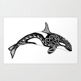 Orca - Hand drawn black and white Art Print