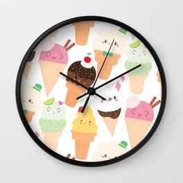 Kawaii Happy Ice Creams Wall Clock