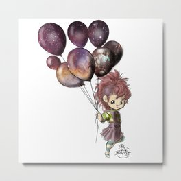Space Balloons - (Square) Metal Print