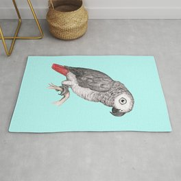 Cute African grey parrot Rug
