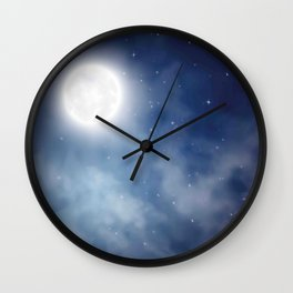 Night sky moon Wall Clock