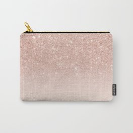Rose gold faux glitter pink ombre color block Carry-All Pouch