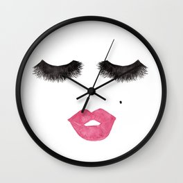 Glam Lips and Lashes Watercolor Wall Clock