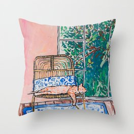 Napping Ginger Cat in Pink Jungle Garden Room Throw Pillow