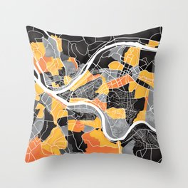 Pittsburgh Map Throw Pillow