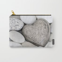 Stone Heart and pebble greige tones Carry-All Pouch
