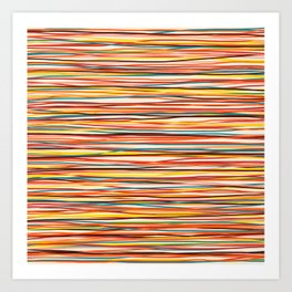 Bright Colorful Lines - Classic Abstract Minimal Retro Summer Style Stripes Art Print