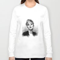 jennifer lawrence Long Sleeve T-shirts featuring Jennifer Lawrence by Cécile Pellerin